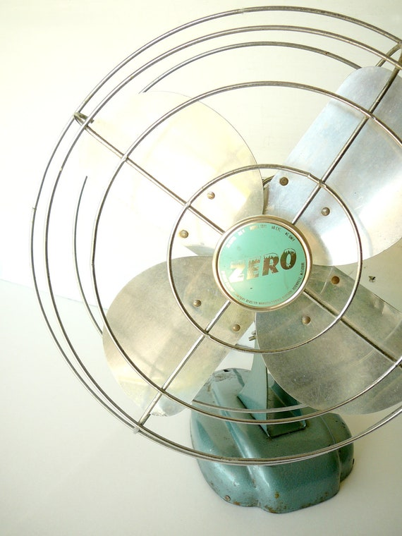 Vintage Zero Fan Aqua Metal Large