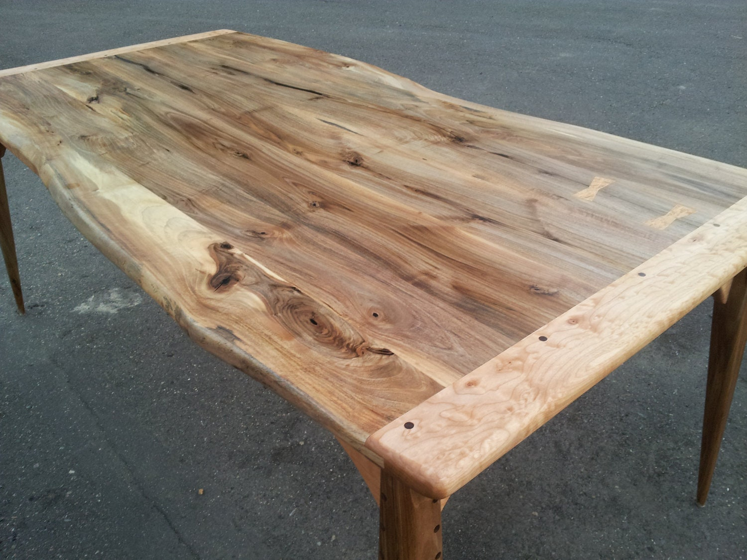 Rustic Modern Live Edge Walnut And Maple Dining Table
