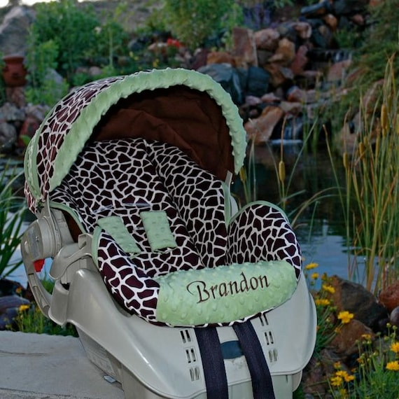 Custom Infant Car Seat Cover - Giraffe - Includes Embroidery