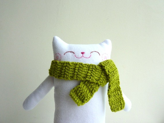 Plush Cat, Cat Plush, Toy Cat, Cat Softy - Mr.White with Scarf