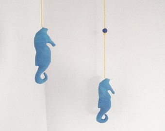 Seahorse mobile fish mobile blue hand-dyed stuffed handmade