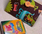 READY to ship ... Crayons to go ...Children's Crayon Holder Wallet ... Michael Miller Dino Dudes