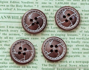 Unique Wooden Buttons - Retro Leather Looking Buttons, A (4 in a set)
