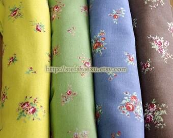LAST PIECE - Shabby Chic Romantic Rose Floral-Japanese Cotton Canvas Fabric (Fat Quarter)