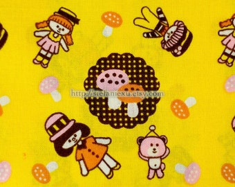 Cotton Fabric,  Handkerchief Fabric-Kawaii Dolls and Bears (5 Panels, 12x59 inches)