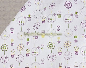 Chic Spring Floral Flower Pot - Cotton Fabric (Fat Quarter)