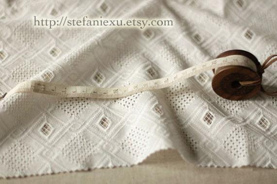 White Eyelet Embroidery Lace Fabric, Chic Rhombic Diamond-Japanese Cotton Fabric (1/2 Yard)