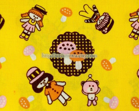 Cotton Fabric,  Handkerchief Fabric-Kawaii Dolls and Bears (5 Panels, 12x59 inches)