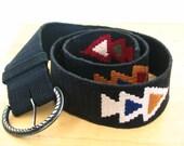 Woven Cotton Black Multicolor Triple Arrowhead Motif Belt Size M