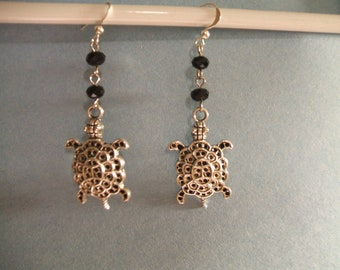 SilverTurtle/Tortoise Earrings w/ Black Crystals