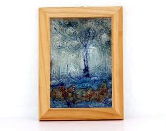 Fused glass  painting,  blue  trees landscape