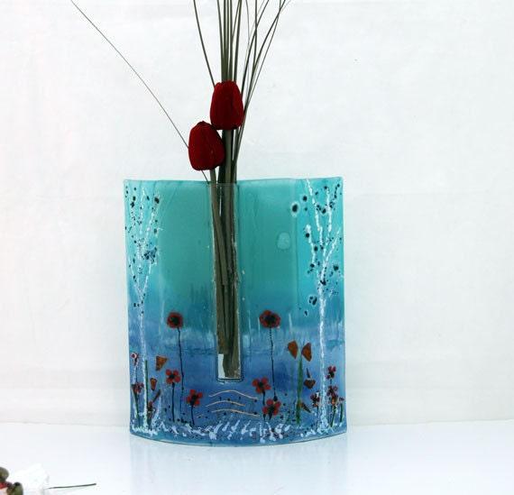 blue Fused glass  vase, red Poppy on blue tones landscape