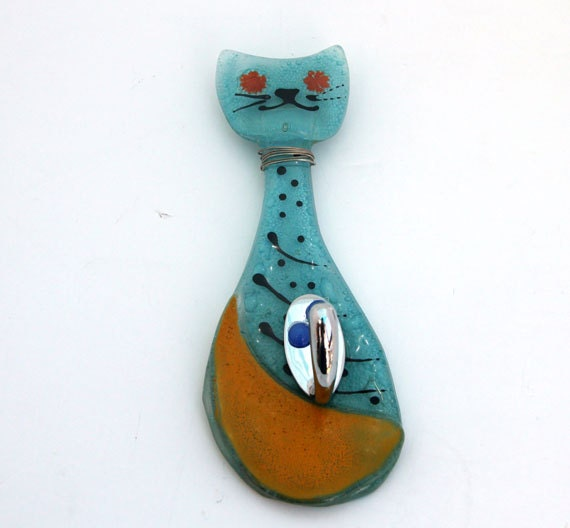 Small Key Wall Decor : Wall key hanger small azure cat fused glass by virtulyglass
