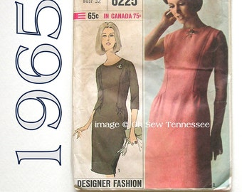 Vintage Designer Dress Pattern - Simplicity 6225 - Sewing Pattern, Size 12