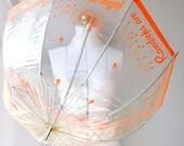 Vintage 60's Umbrella . Clear  Bubble .  Rain Drops Are Falling on My Head