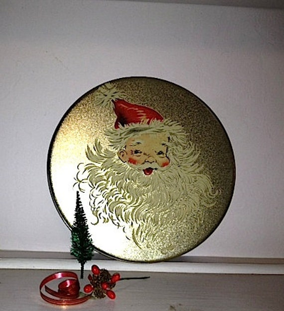 vintage xmas christmas golden holiday santa claus red tin cookie storage fun decor shabby gift round box