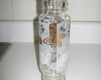 Mid Century Apothecary Jar Bath Storage Bottle Butterfly and Leaf Motif