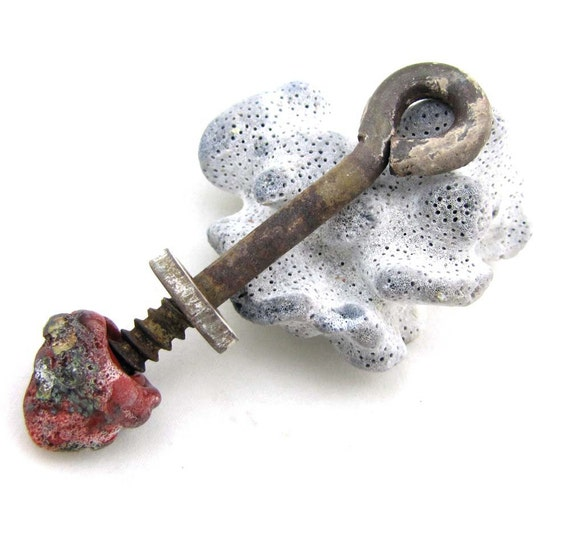 Screw Heart Askew - Found Object Crusty Rust Relic Earthen Red Lampwonk  Steampunkture Pendant