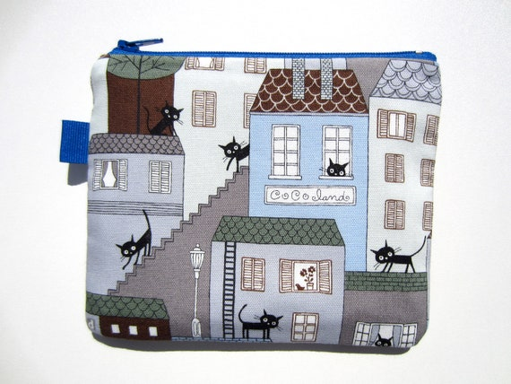 Zippered Pouch  -  Cocoland Black Cats strolling in town on Light Blue cotton