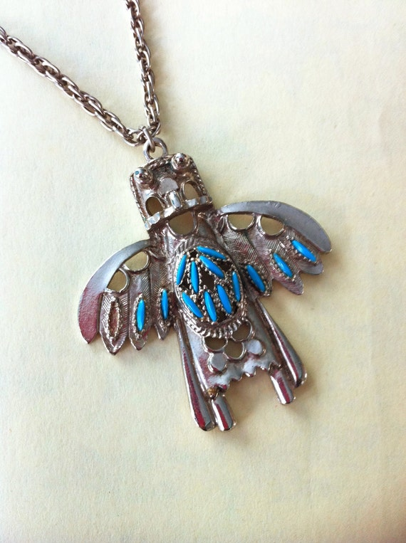 Vintage Kachina Thunderbird Pendant Necklace with Faux Turquoise Stones