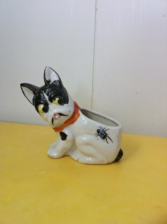 Vintage Boston Terrier Ceramic Planter