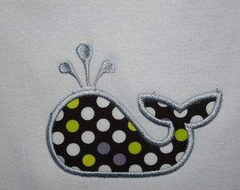 Lime, silver, black and white whale onesie