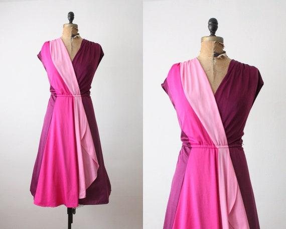 1970s dress - pink wrap dress