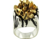 Tree Trunk Crystal Growth Ring in Silver & Gold