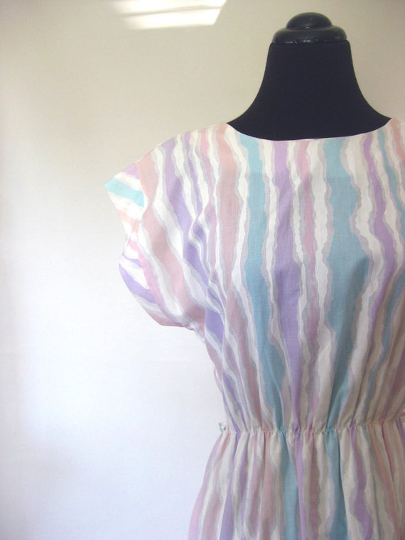 Vintage Cut Out Back 1980s Day Dress Cotton Sundress Small Medium S M Pastel Purple Pink Mint Lolita Chic Eighties