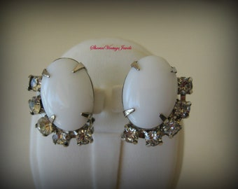Vintage Art Deco Earrings White Glass Cabs and Rhinestones