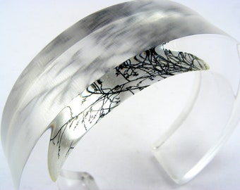 Winter Bangle Grey Branches Chunky Perspex Bracelet