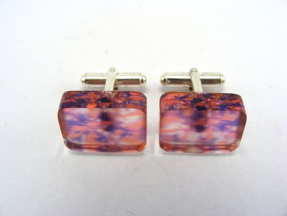 Unisex Cufflinks, pink purple Contemporary Jewelry Sterling Silver and Handmade Perspex