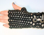 Black Lacy Crochet Gloves -Fingerless and Romantic with Ornate Antiqued Bronze Buttons
