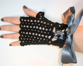 Black Lacy Fingerless Gloves Laced with A Gray Satin Ribbon