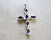 Beautiful Amethyst and Sterling Silver Cross