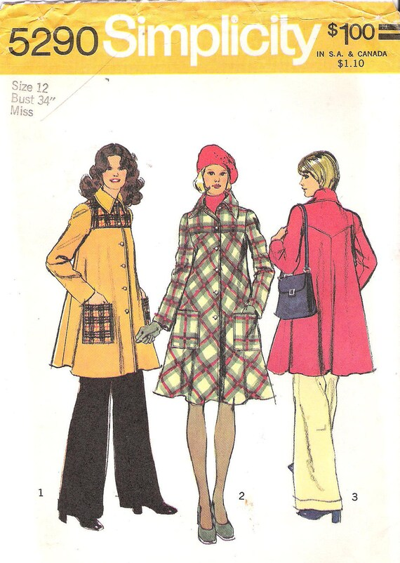 Vintage Simplicity 5290 1970's Tent Coat or Dress with Yoke and Patch Pockets Sewing Pattern Uncut Bust 34