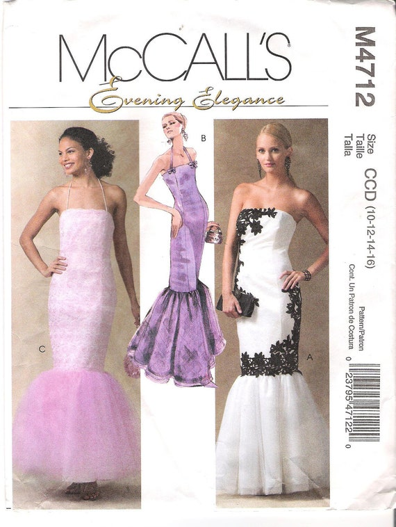 Strapless Mermaid Dress Sewing Pattern McCall's 4712 Sizes