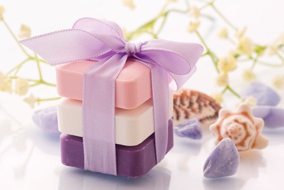 Soap - Gift Sets  -  Lavender -  Gardenia - Sweet Pea  -  3 Bars 6 oz  Each   -  Organic Soap - Moisturizing Soap - Glycerin Soap