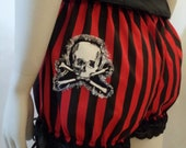 skull and cross bones red and black stripe shortie bloomers
