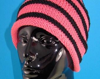 Instant Digital File pdf download knitting pattern - Stripe Roll Brim Beanie pdf knitting pattern