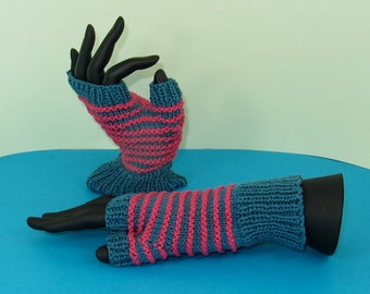 Instant Digital File pdf download Knitting pattern only - Stripe Pattern Fingerless Gloves knitting pattern