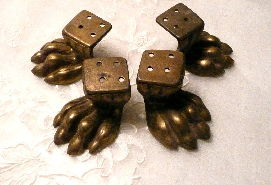Set Of 4 Solid Brass Claw Feet Vintage Brass Hardware