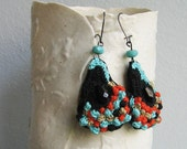 Turquoise-Orange-Black-Gold crochet stone earrings