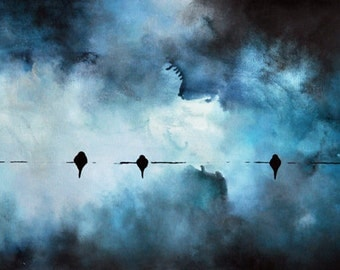 "Winter Birds 6 - original painting of birds on a wire, LARGE 16""x47"" UNSTRETCHED Rolled in a tube"
