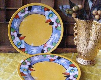 """Vintage Lusterware 7"""" Plate Set Birds, Flowers Purple, Orange, Black, Green Japan Small Salad Tea Dessert"""