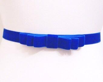 Cobalt Blue Velvet Bow Belt