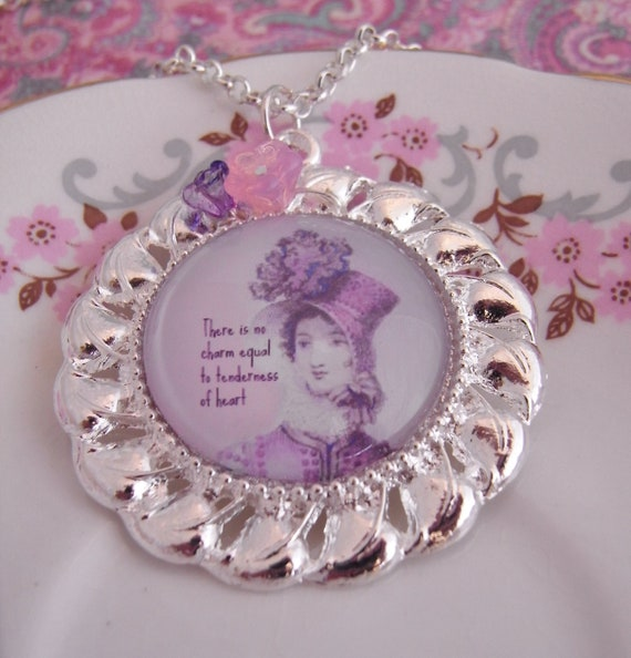 Jane Austen quotation necklace, tenderness of heart, classic literature, regency period, bibliophile gift, quote jewelry