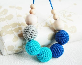 Bright blue colors - nursing necklace breastfeeding statement jewelry strand necklace - rusteam ohtteam - turquoise blue navy blue grey