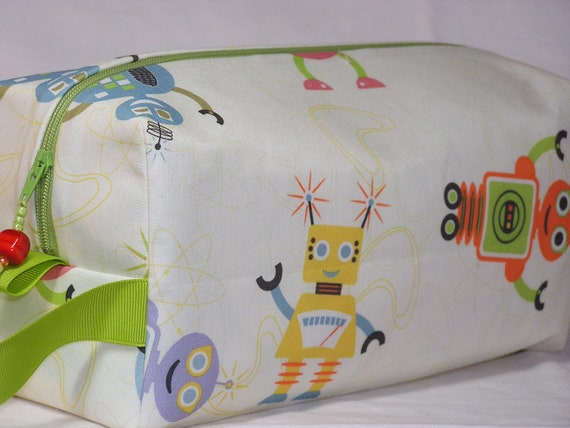 PREORDER Robots with Green Ribbon Project Bag - LIMITED EDITION
