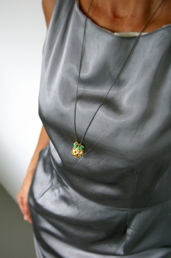 Extra Long Sphere Mint Green Bead Necklace - Gold, Gunmetal, Glass